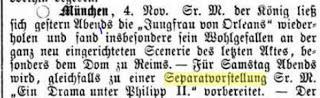 Avril 1879:  Louis II, mécontent d'une comédienne, annule une représentation privée.
