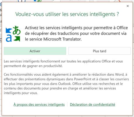 Excel - Activation services intelligents