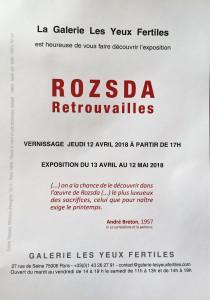 Galerie « Les yeux fertiles »  ROZSADA « retrouvailles »  13 Avril au 12 Mai 2018