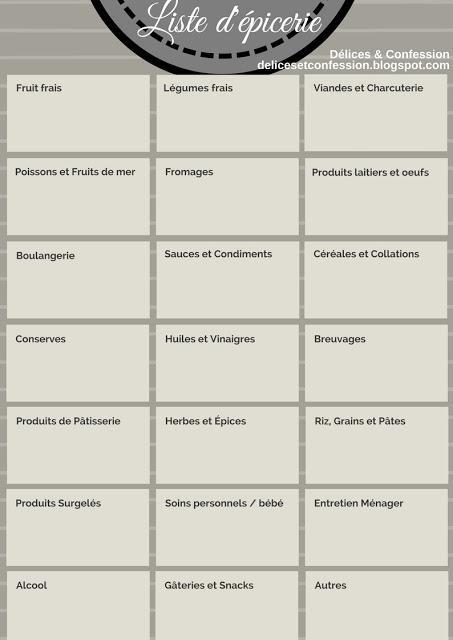 Liste d'épicerie imprimable