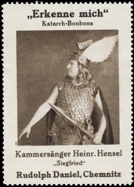 Humour wagnérien timbré: Heinrich Hensel en réclame pour des bonbons contre la toux