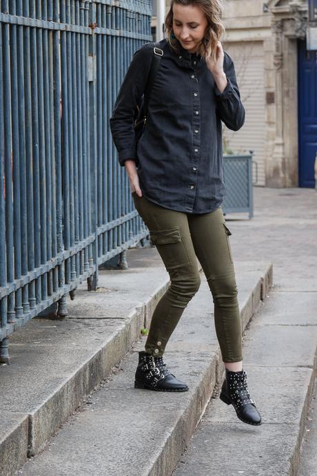 Jean noir et pantalon kaki