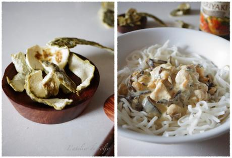 Cabillaud, crevettes et pétoncles, sauce coco et combawa, plat asiatique