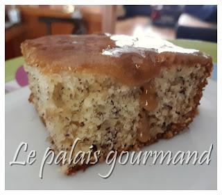 Gâteau moelleux aux bananes, glaçage caramel