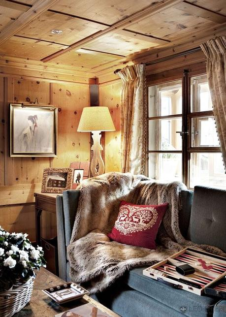 deco style chalet mur de bois salon cosy plaid fourrure clem around the corner blog deco