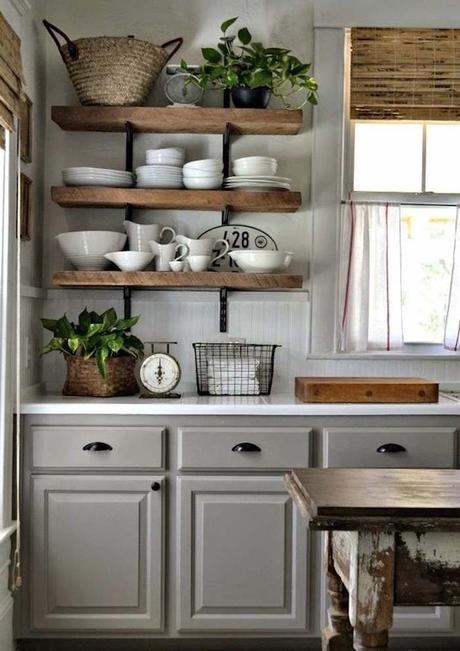 style rustique cuisine gris bois massif brut table relookee style champêtre chic