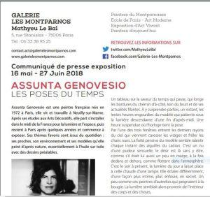 Galerie Les Montparnos  (Mathyeu Le Bal) exposition  Assunta Genovesio  « Les poses du temps » 16 Mai au 27 Juin 2018