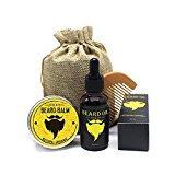 Huile à Barbe Kit (4 Pcs), 30ml Huile de Barbe + 30g Barbe Baume + Un Peigne à Barbe + Grand Sac de Rangement Avec, Cadeau Idéal pour les Hommes