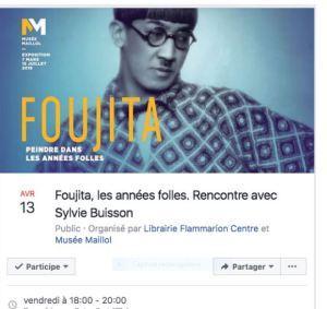FOUJITA « Librairie du Centre Pompidou » avec Sylvie BUISSON  le vendredi 13 Avril 2018 (18h00 à 20hOO)