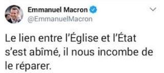 L'Etat chez lui, l'Eglise chez elle. A propos du discours d'Emmanuel Macron aux Bernardins