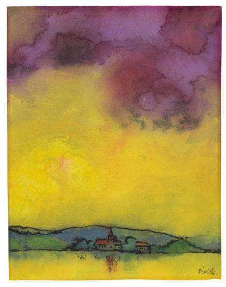 Emil Nolde (1867-1956) Landschaft mit Kirche (Gelb und Violett) 1931