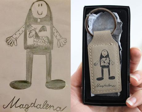 Coloriages de vos enfants gravés sur nos porte-clés cuirs...