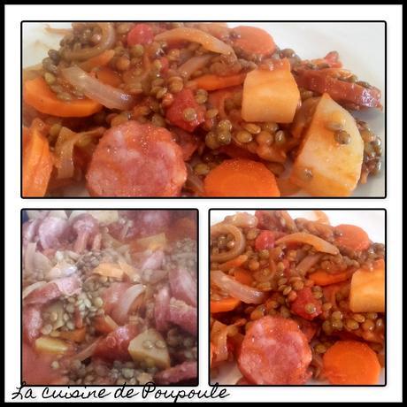 Lentilles au coulis de tomates et saucisses de porc fumé au thermomix ou sans