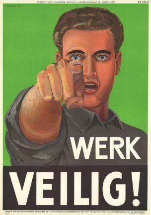 Pays-Bas 1955 Affiche de Scorgo Travaillez en securite