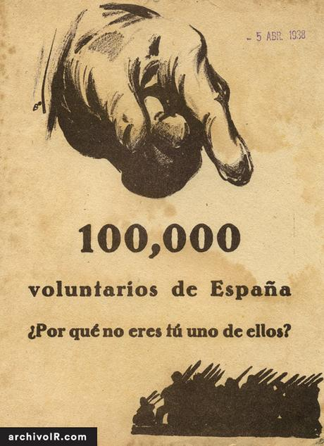 Espagne 1938 Republicain 100000-voluntarios-de-espana POR QUE TU NO ERES UNO DE ELLO- CAMPAnA EBRO affiche de Bardasano