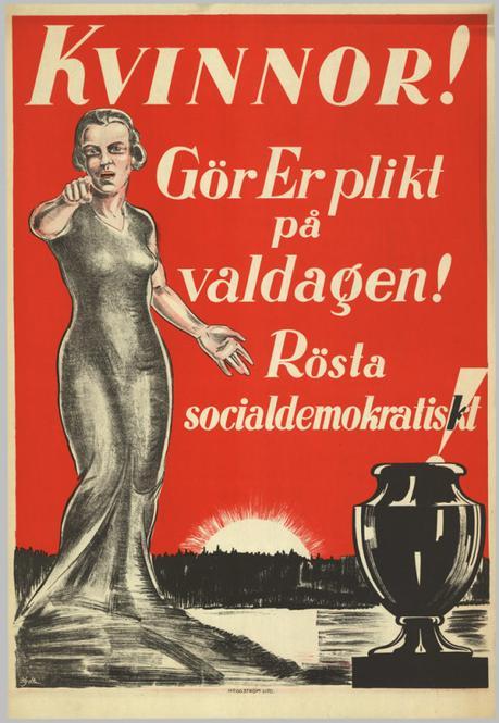 Suede 1928 Femmes, faites votre devoir le jour des elections. Votez pour les sociaux-democrates