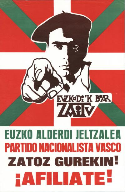 Espagne 1977 Adhere au PNV (Parti nationaliste basque)