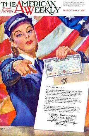 WW2 USA 1945 Invest in war bonds affiche Joe Watson Little