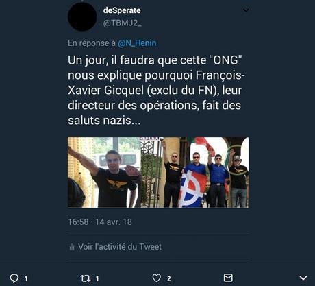 Un responsable de SOS Chrétiens d'Orient en plein salut nazi
