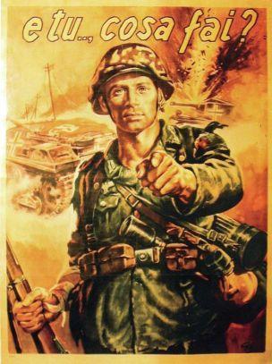 WW2 Italie 1944 E tu che cosa fai affiche de Gino Boccasile solo