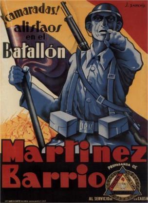 Espagne 1937 Camarade enrole-toi dans le bataillon du Barrio Martinez affiche de J. Sanchis