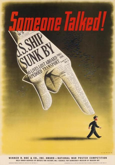 USA 1942 Someone Talked affiche de Henry Koerner Winnaar van de National War Poster Competition