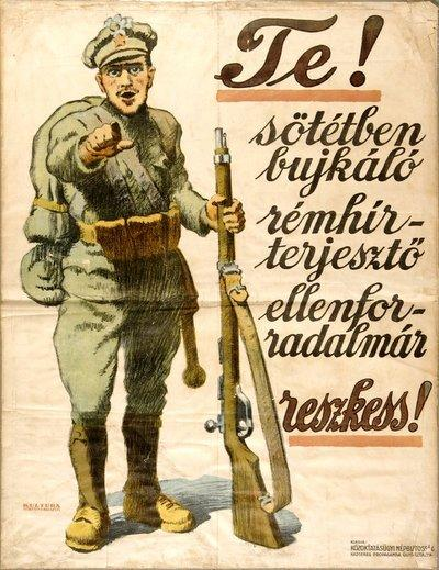 Hongrie 1919 You, gossipspreader counter-revolutionary, be afraid affiche de SANDOR KONYA