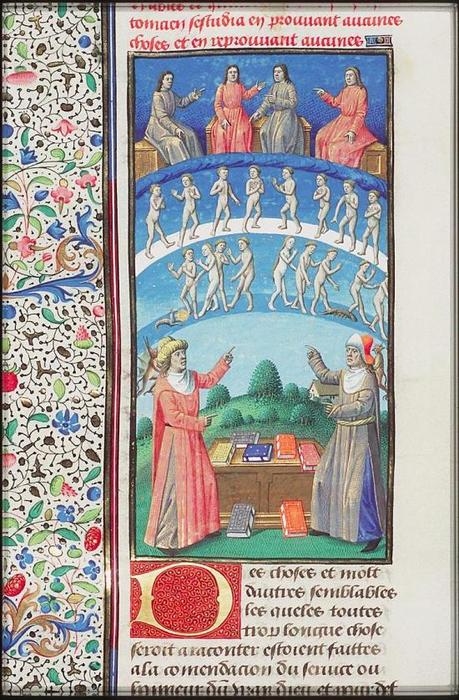 Maitre François - Porphyry and Plotinus discussing the purification of the soul by means of theurgy Paris 1475-1480. Fol. 435v of the Hague