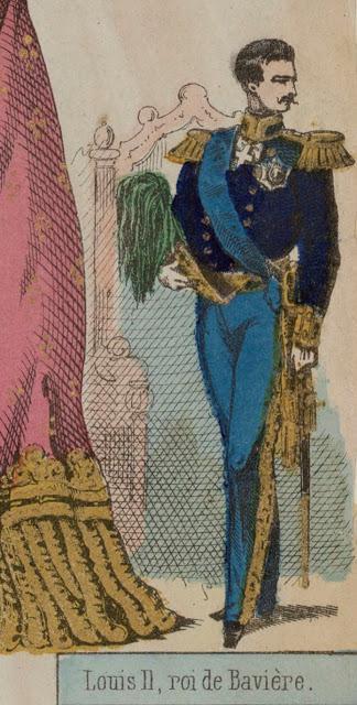 Louis II dans les images d'Epinal. Souverains de l'Europe, une estampe en couleurs de 1866