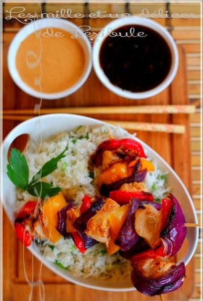 ~Brochettes  de poulet thaï avec sauce aux abricots gingembre et sauce aux arachides~