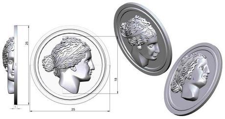 medaille visage grec