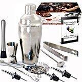 Kit Shaker à Cocktail en Inox 550ml avec Filtre Interne, Doseur à Double Mesure