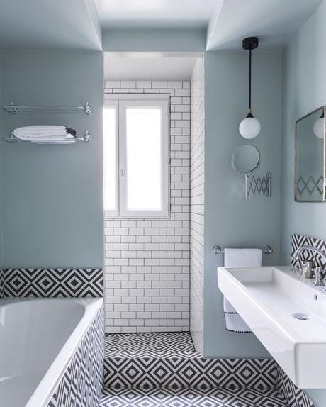 bleu glacier salle de bain graphique noir et blanc
