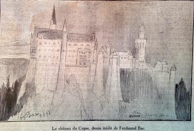 Neuschwanstein dessiné par Ferdinand Bac en 1898