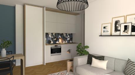 Une cuisine discrète dans une pièce de vie ouverte