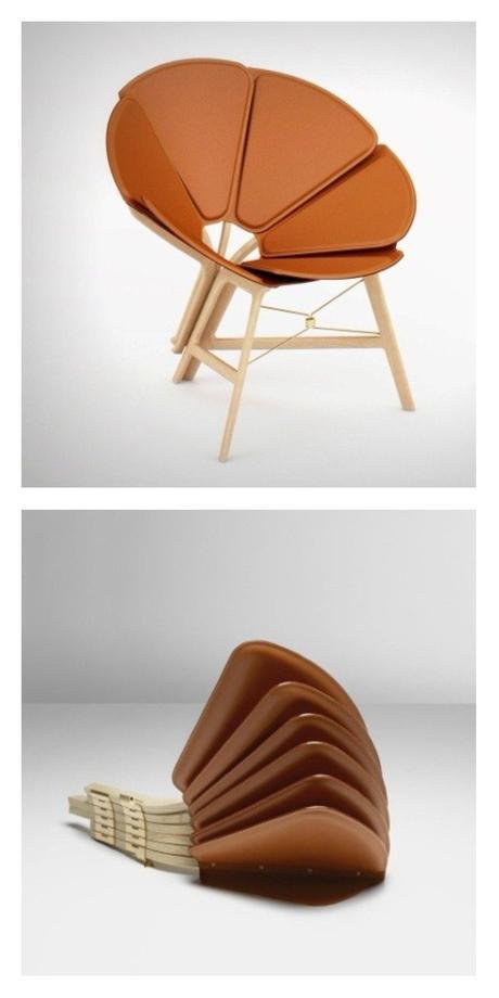 Chaise en forme de fleur pliante louis vuitton cuir Concertina Raw Edges