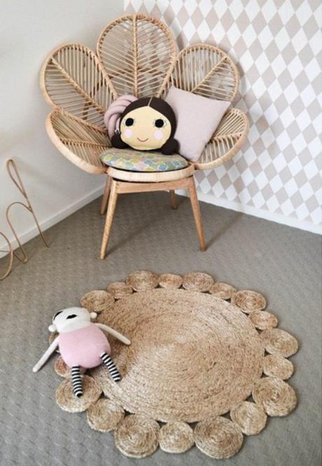 chaise meuble en rotin blanc fauteuil en forme de fleur osier salon en rotin design chambre enfant fille