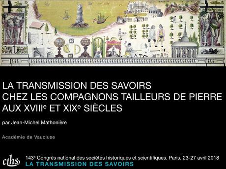 Ma communication dans le cadre 143e Congrès national des sociétés historiques et scientifiques, du 23 au 27 avril 2018 à Paris