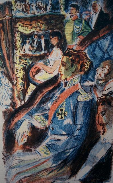 Le jeune roi Louis II à l'opéra, une lithographie de Jacques Lechantre