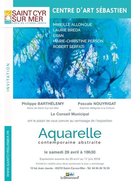 Aquarelle contemporaine abstraite Lau Centre d'Art Saint-Sébastien à Saint-Cyr-sur-Mer