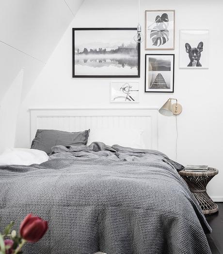 petit appartement blanc chambre gris