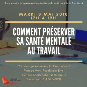Conférence: comment préserver sa santé mentale au travail