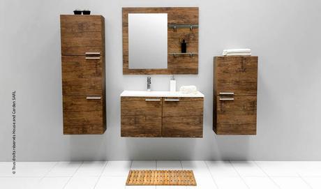 Meuble de salle de bains en bois d couvrir - Meuble salle de bain bois fonce ...