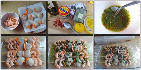 Brochettes de St Jacques et crevettes - sauce marinade