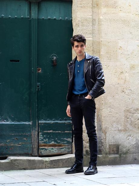 blog-mode-style-homme-paris-bordeaux-pull-somewhere-paris-perfecto-cuir-noir-diesel-echarpe-ikat-slim-jeans-apc
