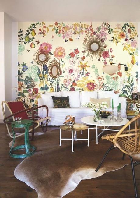deco fleurie papier peint salon original couleurs