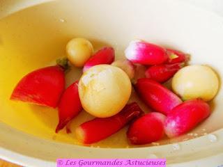 Riz aux épinards et fanes à l'ail et condiment aux radis (Vegan)