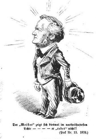 Une caricature de Wagner dans le Puck en 1876 à l'occasion de la première représentation des Meistersinger à Berlin