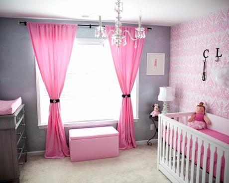 Rideau Pour Meuble Chambre Bébé Fille En Gris Et Rose 27 Belles Idées  Partager