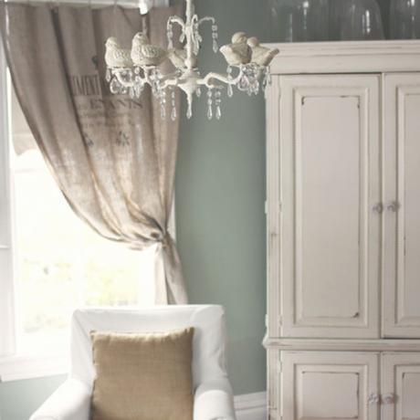 Rideau Pour Meuble Burlap Curtains with Gray Walls Kitchen